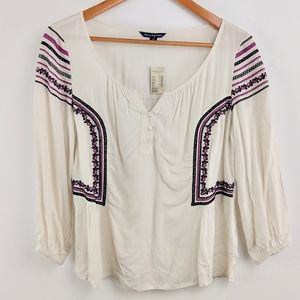 AE Boho Top Embroidered Bell Sleeve Medium M